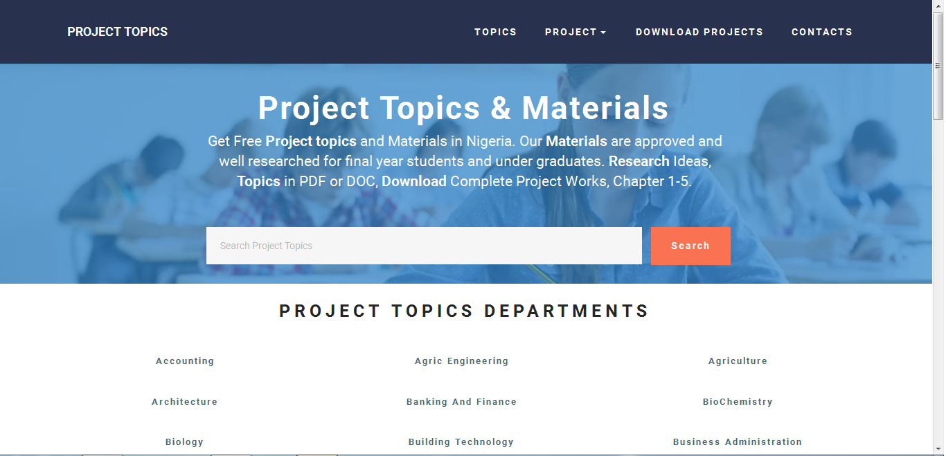 Best Project Website | Project Topics Website | Project Materials Website | Research Website